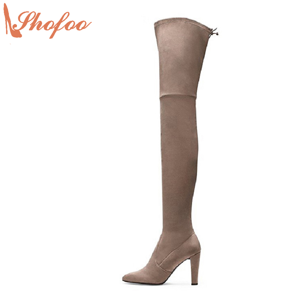 Shofoo Women Boots High Heel Pointed Toe Over Knee High Gladiator Heels,Botas Femininas Com Salto Baixo,Waterproof Boots Women. цены онлайн