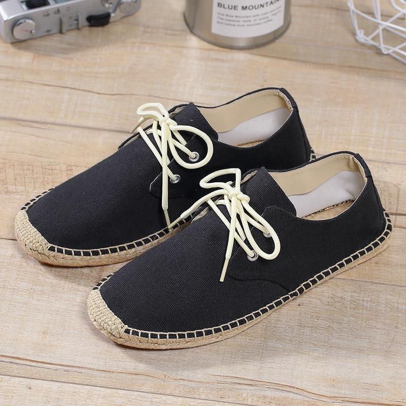 c19e2f8e2f9 Peking 2018 Nieuwe Mode Wit Zwart Canvas Schoenen Hennep Ademende mannen  Flats Boten Schoenen Instappers Espadrilles
