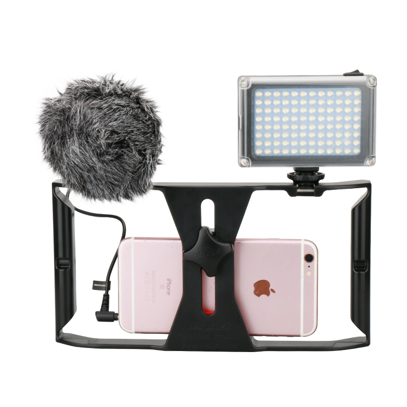 Ulanzi Smartphone Video Rig Stabilizer Kit with 96 Led Video Light w Battery & Boya BY-MM1 Microphone for iPhone Samsung Xiaomi
