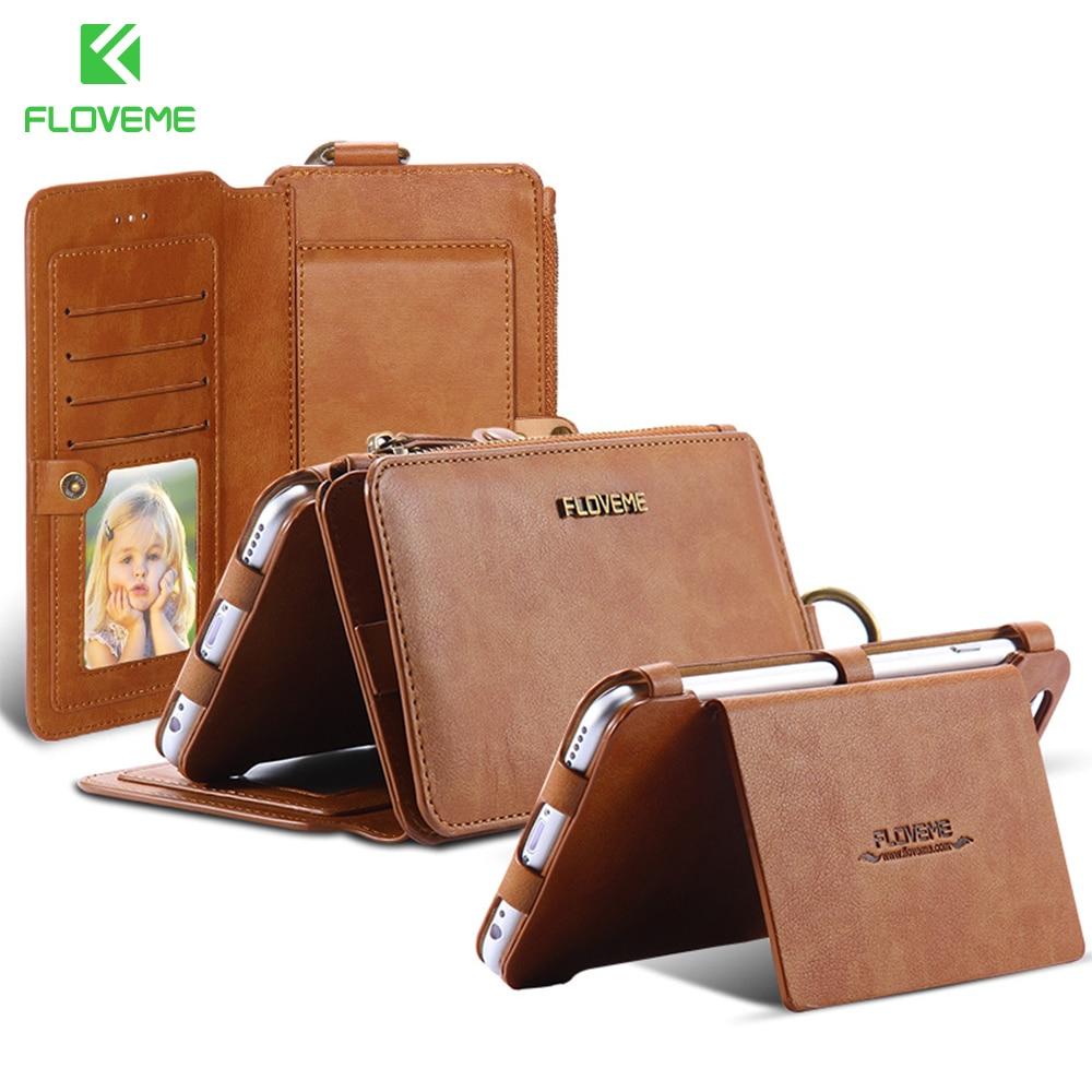 Цена за Floveme кожаный чехол бумажник Fundas Para Móviles для iPhone 7 6 S 6 плюс 5 5S 18 держателя карты Ретро сумка на молнии Для Samsung S6 S7 Huawei P10