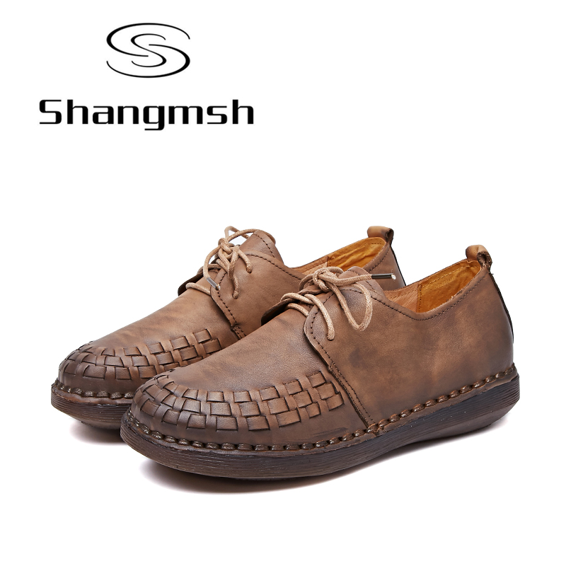 Shangmsh2017 Shoes Woman Genuine Leather Women Shoes Flats Comfortable Loafers Slip On Women's Flat Shoes Moccasins Plus Size slip on shoes loafers girl ballet flats women flat shoes soft comfortable shoes woman plus size 33 40 41 42 43 44 45 46 47