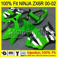 8Gifts Injection mold Body For KAWASAKI NINJA ZX 6R 00 02 INJ277 ZX 6R ZX6R 00 01 02 ZX636 2000 2001 2002 Fairing Green black