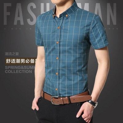 Новинка мужские Рубашки повседневные брендовые приталенные дизайнерские клетчатые рубашки с коротким рукавом мужские s одежда тренд социальные мужские s офисные рубашки 5XL - Цвет: Lake Blue