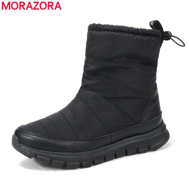 MORAZORA Plus größe 38-41 2018 Russland Schnee stiefel frauen flache schuhe  plattform knöchel stiefel 6a9ad0f984