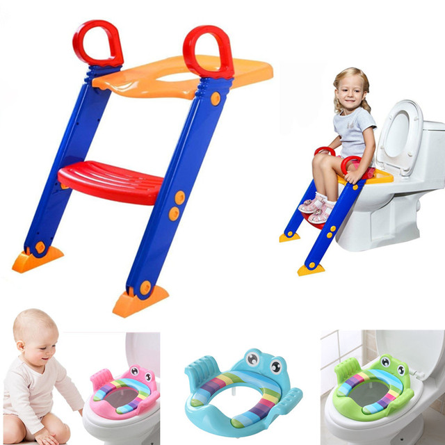 Toddler Potty Training Seat with Step Stool Fold Potty Toilet Trainer Seat Ladder Baby Toilet Chair Safety Baby Toilet Potties