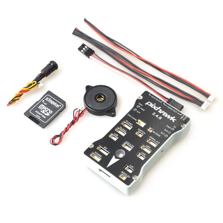 Pixhawk PX4 piloto automático PIX 2.4.8 32 bits Control de vuelo con PX4FMU PX4IO interruptor de seguridad zumbador G 1g SD para DIY RC Drone Multirotor