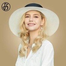 FS 2019 كبير قبعة لها حواف للنساء الأبيض فيدورا القش قبعات من الألياف المجدولة سيدة كبيرة واسعة الشريط شاطئ جيريس الشمس قبعات الأسود الإناث