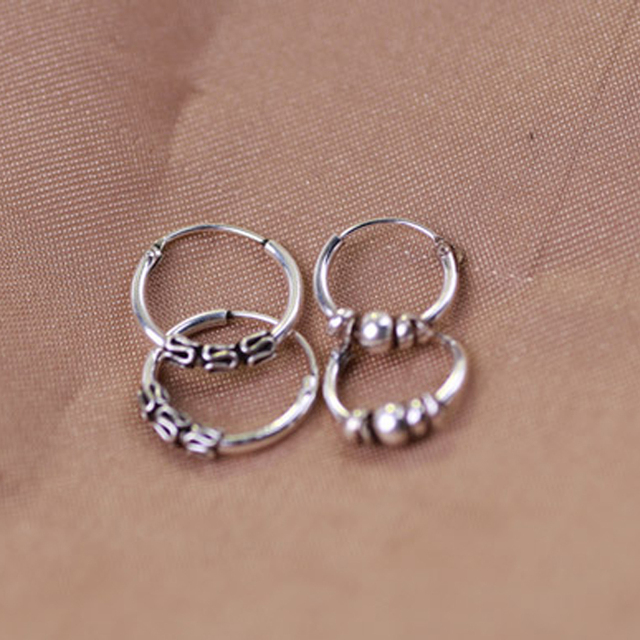 Genuine Real 925 Sterling Silver Jewelry For Women Hoop Earrings Fashion Retro Vintage Tai Round