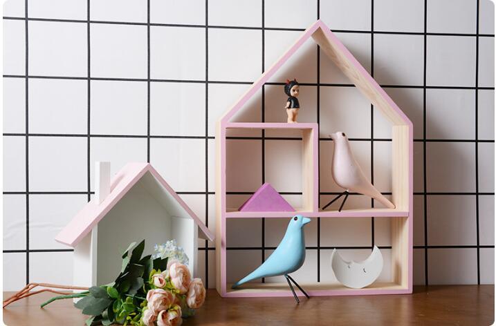 1 PC en bois suspendu décoratif boîte de rangement mallette de rangement support en bois boîte mur maison motif stockage supports support MA 027