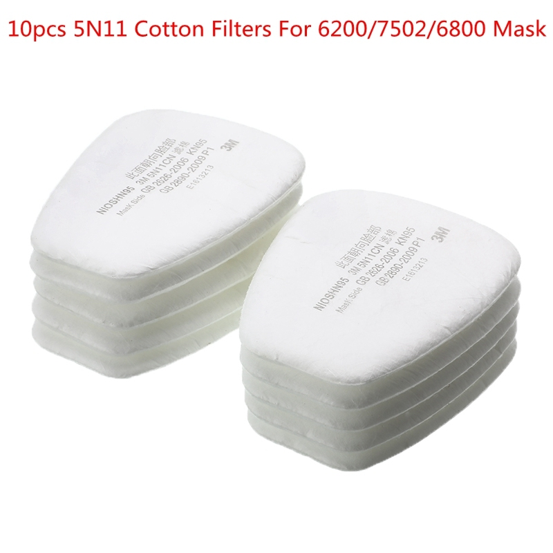 10pcs Gas Dust Mask Accessories Replacement For 6200/7502/6800 5N11 Cotton Filters N95 Chemical Respirator Painting Spraying
