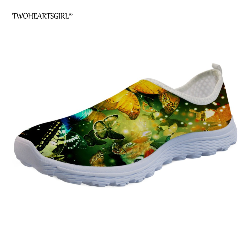 Twoheartsgirl Pretty Women Girls Butterfly Flats Slip-on Breathable Summer Mesh Shoes Loafer Lightweight Femme Street Sneakers instantarts women flats emoji face smile pattern summer air mesh beach flat shoes for youth girls mujer casual light sneakers