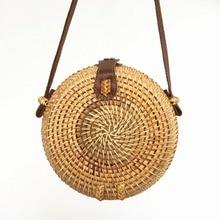 2019 new rattan bag summer round straw beach handmade woven bohemian ins womens shoulder small Messenger