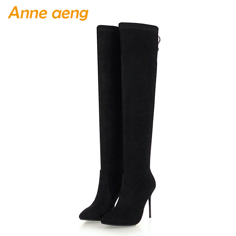 New Spring/Autumn Women Over-The-Knee Boots High Heels Pointed Toe Sexy Ladies Women Shoes Black Thigh High Boots Big Size 33-46 стоимость