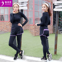Women Yoga Sets Fitness Clothing Sport Suit Women's Slim Gym Pants Running Top + Pants sets bodysuit Solid Nylon Gym running