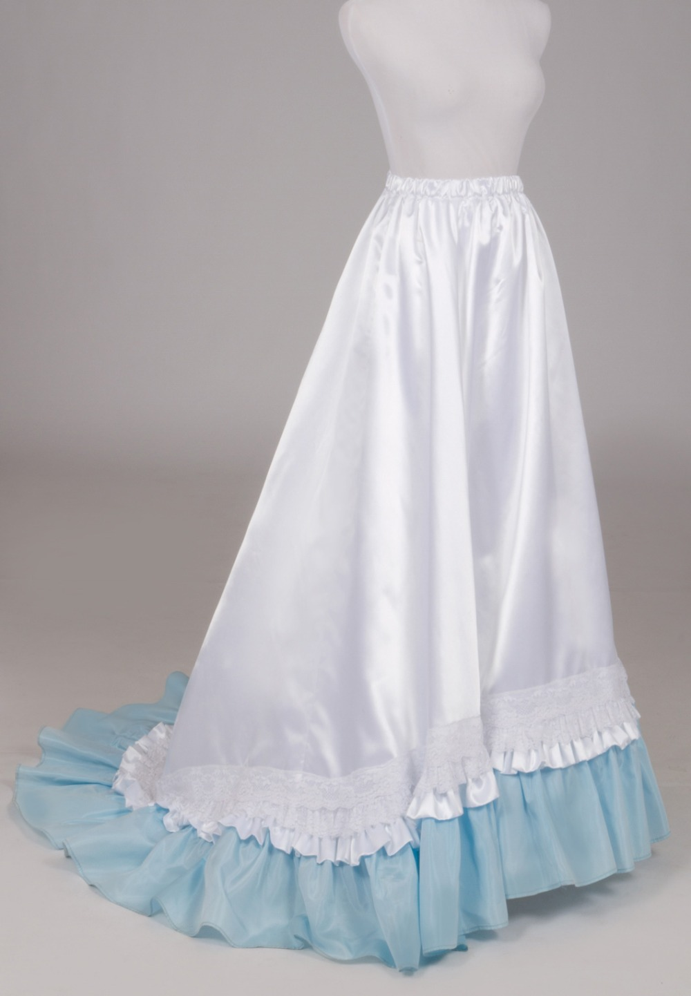 White&Blue Floor-Length Vintage Victorian Skirt Stage Costume Skirt