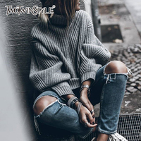 TWOTWINSTYLE Knitted Tops Female Loose Long Sleeve Turtleneck Lady Sweater 2018 Autumn Winter Fashion Casual Clothes Big Sizes