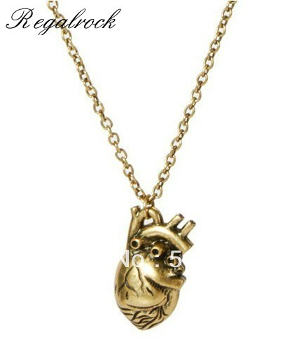 Regalrock Anatomical Heart Human Anatomy Necklace In Pendant