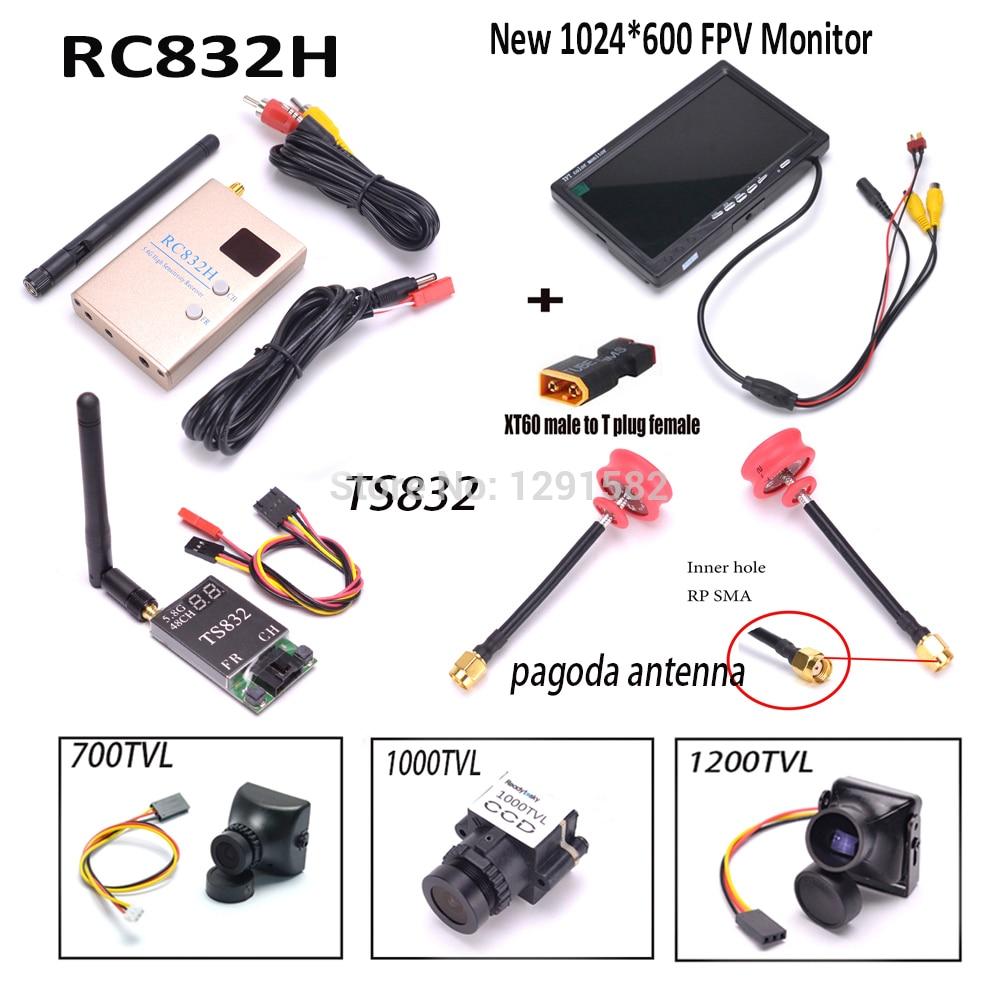 Oyuncaklar ve Hobi Ürünleri'ten Parçalar ve Aksesuarlar'de TS832 RC832 RC 832 verici alıcı 5.8G 600 mW 48CH Kablosuz AV için 7 inç LCD TFT FPV 1024x600 monitör Pagoda Anten RP SMA'da  Grup 1