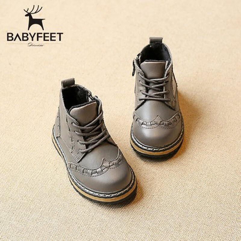 babyfeet 2017 Winter solid Martin boots leather baby boys shoes Warm velvet toddler children shoes 1-3 years old girls booties