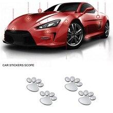 цена на 2pcs/set Auto Car Stickers Cool Design Paw 3D Animal Dog Cat Bear Foot Prints Footprint 3M Decal Car Stickers Silver Car Styling
