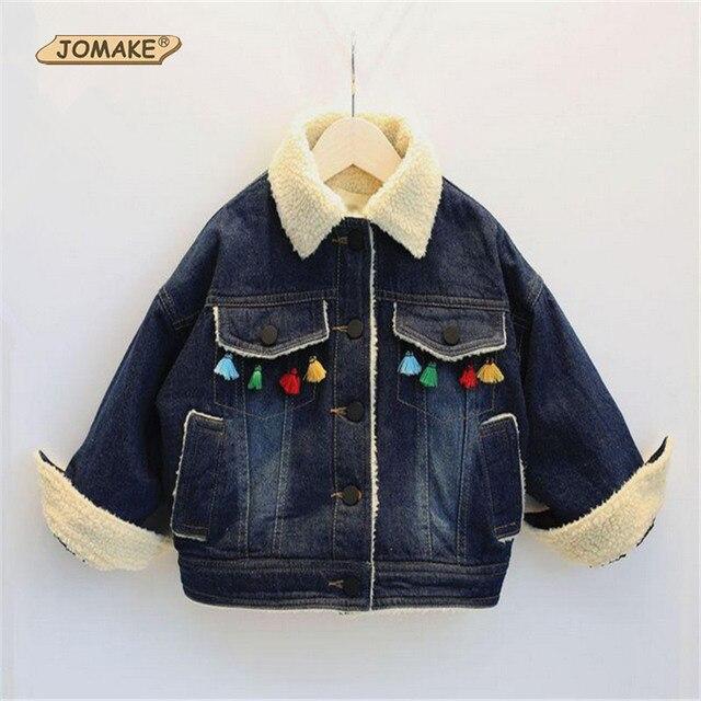 Denim Turn Down Collar Baby Girls Thick Coat Winter New Style Tassel Single Breasted Fleece Jacket Toddler Girls Clothing