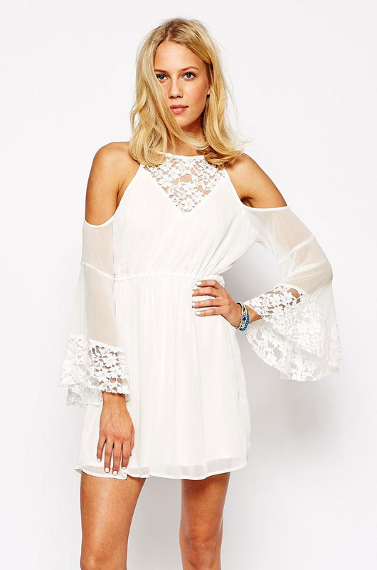 White Lace Chiffon Cold Shoulder Skater Dress Batwing Sexy -6818
