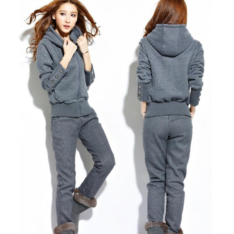 2018 Sport Suit Women Warm Gray Tracksuits With Hood Sweater Two Piece Set Top And Pants Suit Female