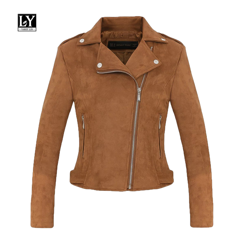 Ly Varey Lin 2019 New Women Faux Soft   Suede     Leather   Jackets Slim Motorcycle Biker Matte Coat Lady Pink Red Punk Bomber Jacket
