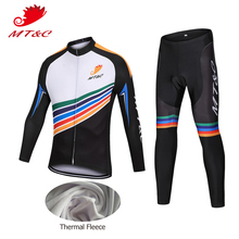 MT&C Winter Man Cycling Jersey Set White Black Thermal Fleece Elastic Clothing Quick Dry Pro Team Sport Long Bicycle Clothes