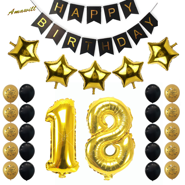 Amawill 18TH Birthday Party Decorations Kit Happy Balloon Banner Number 18 Mylar Foil Black Gold Latex Ballon 75D