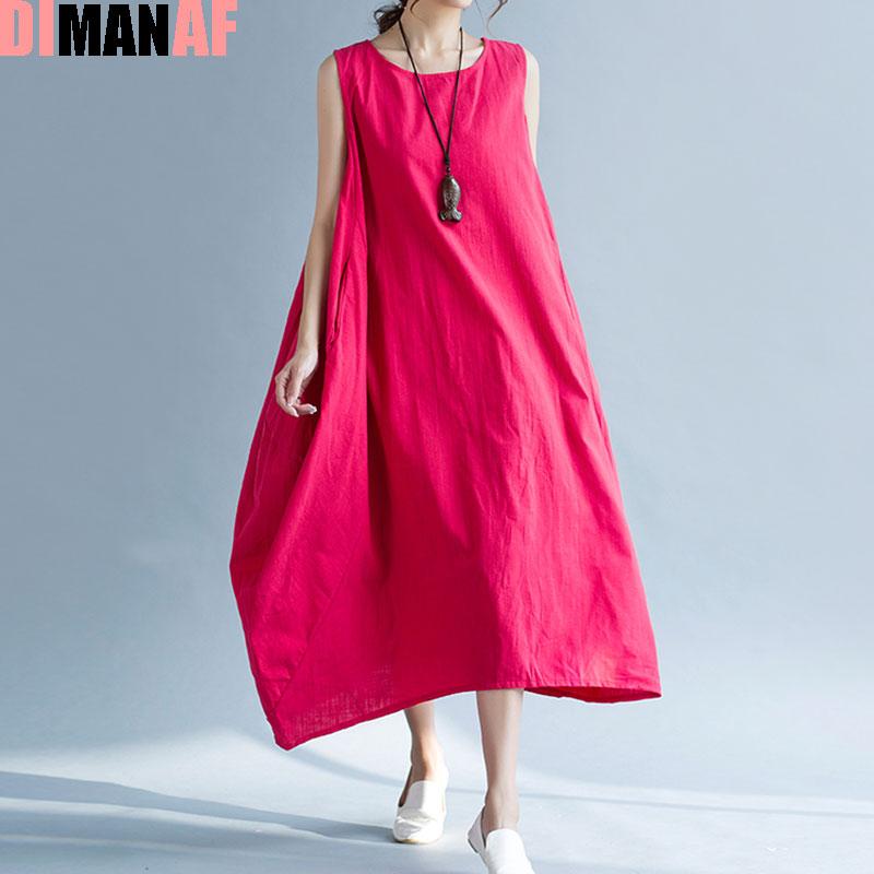 DIMANAF Plus Size Women Summer Dress Solid Sundress Linen Sleeveless Vest Female Casual Fashion Loose Beach Long Retro Dresses
