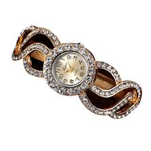 Hot Sale Women Watches Fashion Luxury Women's Clock Unique Design Studded Crystal Dial Alloy Band Bracelet Watch Creative Aug21
