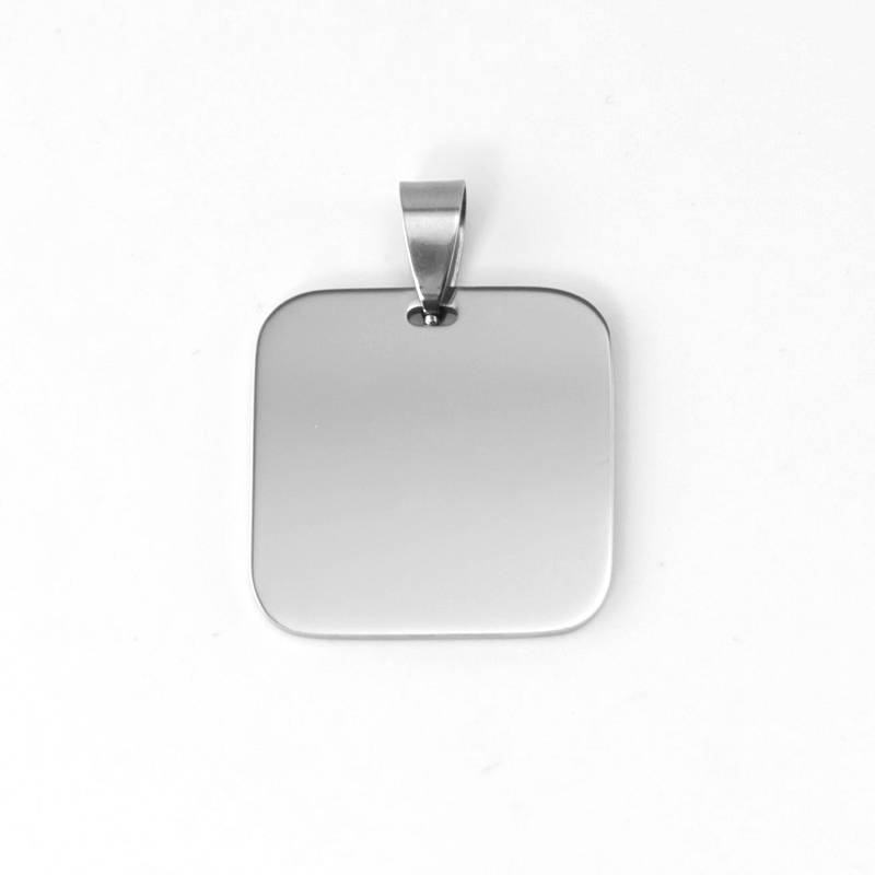Simsimi 25mm square pendant round corner stainless steel pendant with 50cm ball chain Wholesale 100pcs