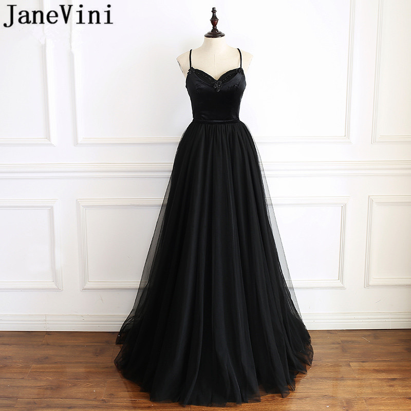 JaneVini Sexy Ladies Black Gala Prom Dresses Beadings Spaghetti Straps Velvet Tulle Bridesmaid Wedding Guest Dress