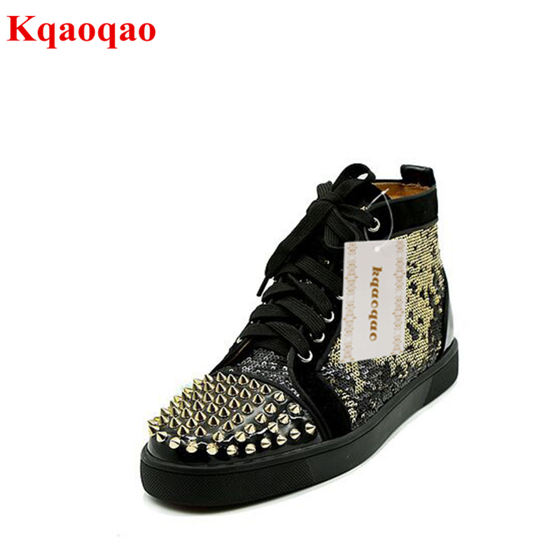 Gold Color Rivets Embellished Men Casual Shoes Lace Up High Top Men Sneaker Spike Shoes Flats Brand Star Shoes Hommes Chaussures real pic high color decorative rivets women casual shoes brand designer lace up comfortable women flats shoes woman