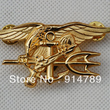 US NAVY SEAL EAGLE ANCHOR TRIDENT METAL BADGE INSIGNIA GOLD -32442