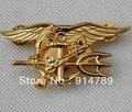 US NAVY SEAL EAGLE ANCHOR TRIDENT METAL металлический значок ВМС США золото-32442 - фото