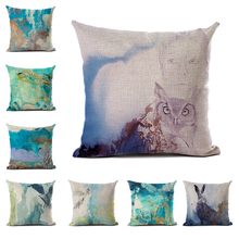 Ink Style Cushion Cover Linen Polyester Mountain Birds Rabbit Abstract Scenery Decorative Pillowcase for Sofa Home Decor 45x45cm