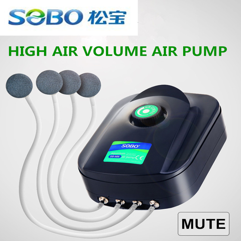 SOBO 8w 12w Fish Tank Oxygen Air Pump Fish Aquarium Air Compressor Adjustable Air Flow Oxygen Pump For Fish 2/4 Air Outlets
