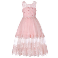 12PCS Flower Girl Long Lace Dress Christmas Party Kids Party Dresses For Girl  Frocks Children s Costume 741f3bef4735