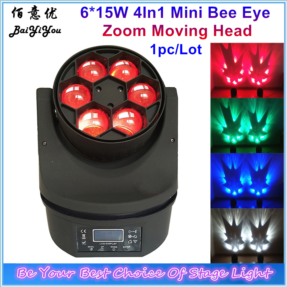 1x Rotating 6pcsx15W RGBW 4In1 Mini Bee Eye Led Moving Head Beam Light 6 15W LED