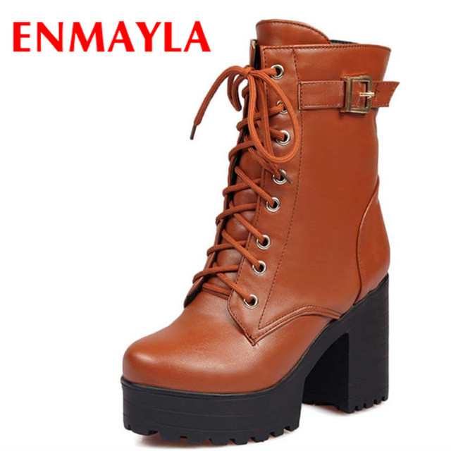 cheap for discount d0697 bc290 US $31.85 48% OFF|ENMAYLA Fashion Square Heels Cool Girl Half Boots Women  High Heels Winter Thicken Hunter Lace Up Platform Martin Boots-in Mid-Calf  ...