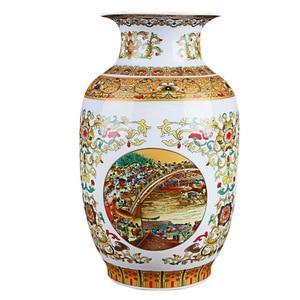 Image 2 - Jingdezhen Cổ Vàng Bình Gốm Riverside Scene tại Thanh Minh Lễ Hội Trung Quốc Bình Sứ
