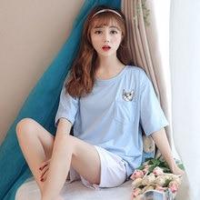 Cute Cartoon Pocket Cat Summer 2018 Homewear Pajamas Women Girls Pajama Set  Elastic Waist Shorts Cotton Lounge pyjamas S85509 67ebc26de