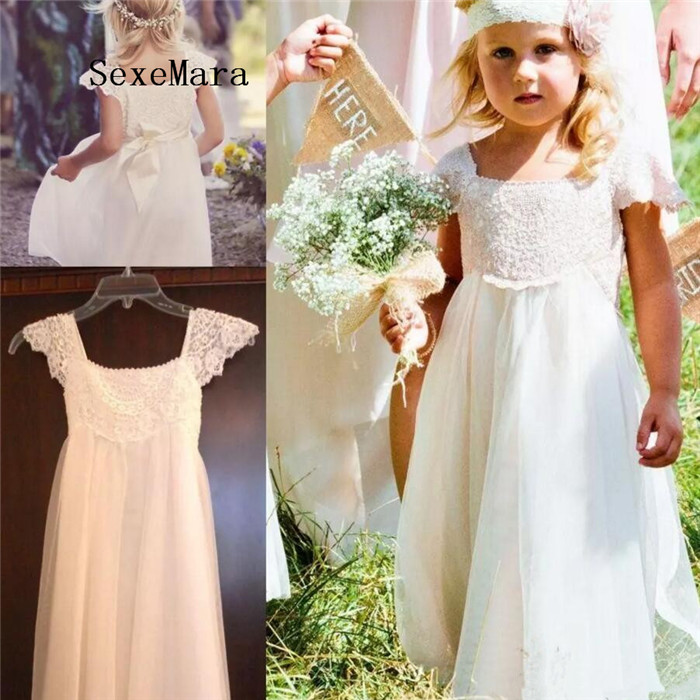 Boho Cap Sleeves Flower Girl Dresses 2018 White Ivory Lace Chiffon Girls Kids Formal Dresses With Sash First Communion Gown Without Return