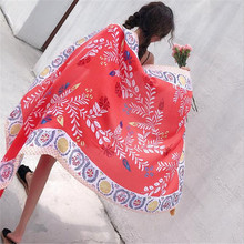 LEAYH Brand Summer Fashion 180*90cm Large Scarf Flower Printed Cotton Beach Shawls Sun Cape Suncreen Head Wraps
