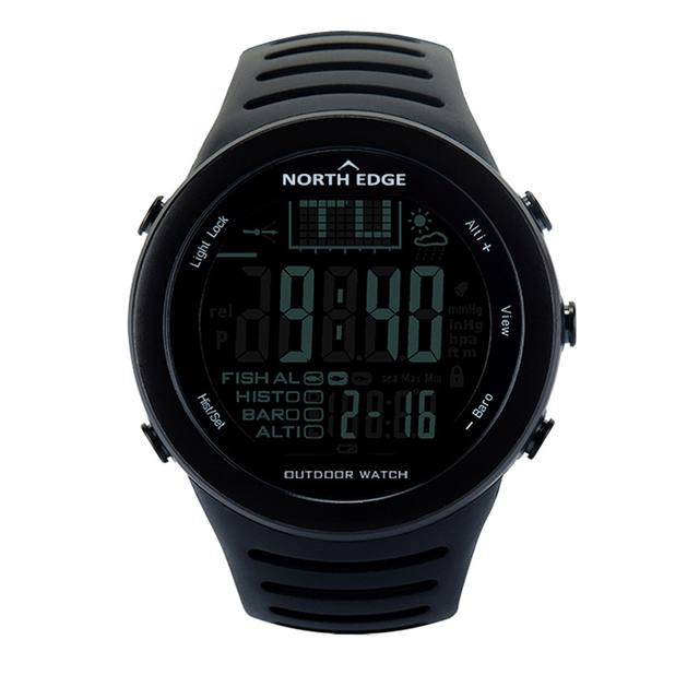 NORTHEDGE Men Digital watches outdoor watch clock Fishing weather Altimeter Barometer Thermometer Altitude Climbing Hiking hours 1