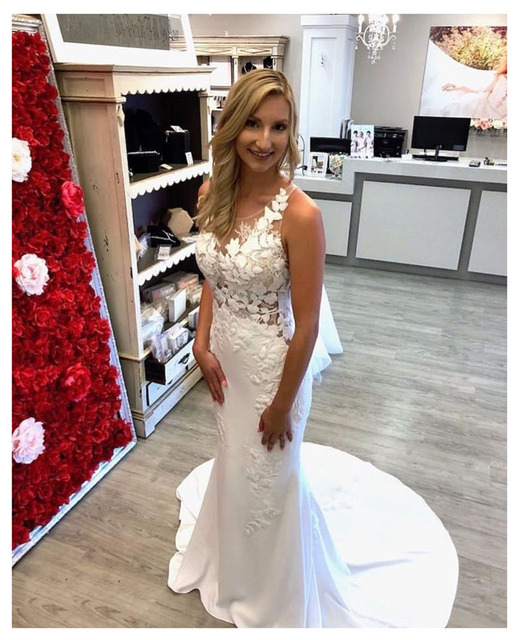 Lorie Lace Wedding Dress 3d Flowers 2019 Simple Mermaid Beach