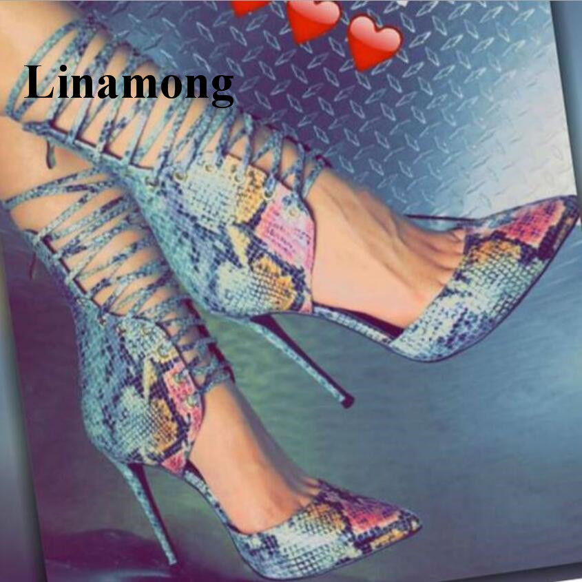 2018 Fashion Charming Party Sexy Thin High Heel Pointed Toe Snakeskin Pattern Lace Up Cross-tied Design Summer Women Sandals