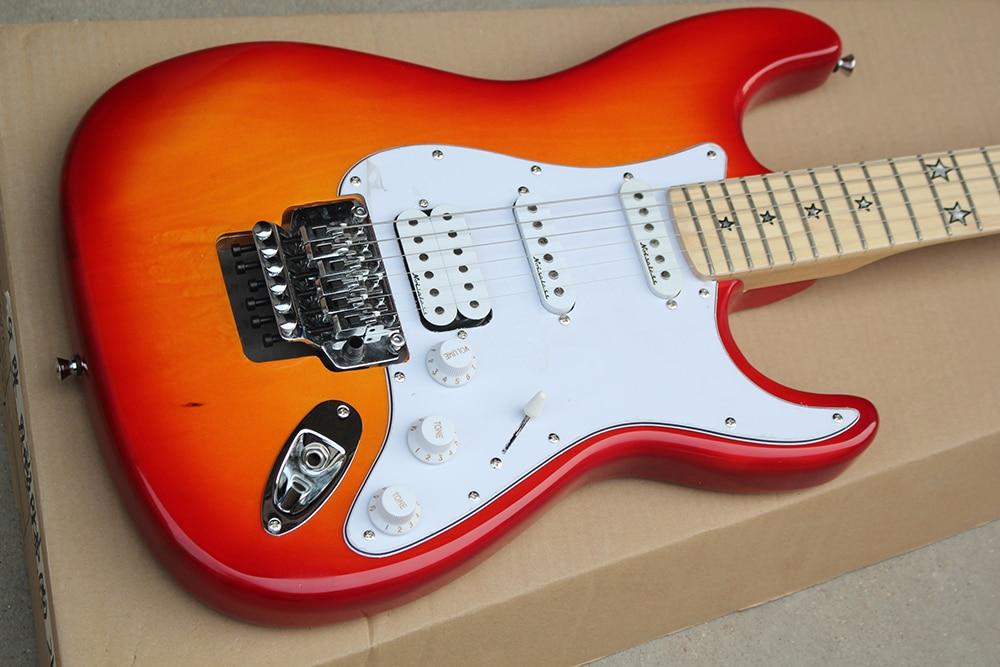 Подгонянная гитара вишневого цвета, пятизвездный инкрустированный гриф, белый щит, HSS пикап, бесплатная доставка